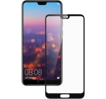Tempered Glass Screen Protector Πλήρους Κάλυψης για Huawei P20 black ( glue on all glass )