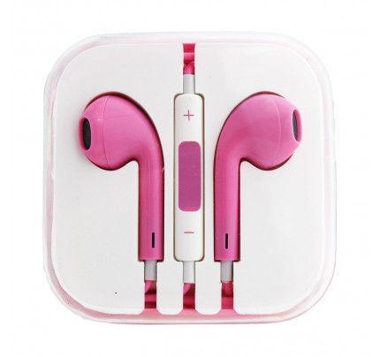 Handsfree Stereo συμβατά με iPhone 3G/3Gs/4G/5G/5S/6/6s BOX hot pink
