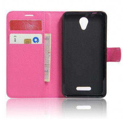 """Θήκη OEM Wallet για Alcatel POP 4 5 """" ( stand ,θήκες για κάρτες,χρήματα) ροζ χρώματος"""