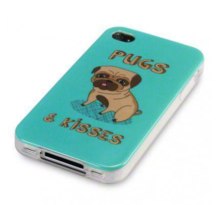 Θήκη TPU Gel για Apple iPhone 4 / 4s Pug & Kisses