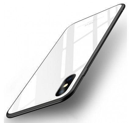 Θήκη MSVII Tempered Glass Case Durable Cover with Tempered Glass Back για iPhone X / iPhone XS white