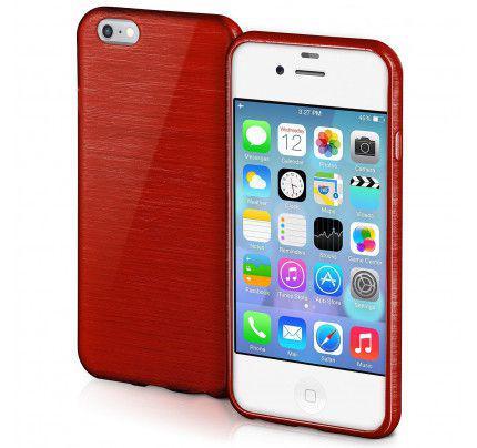 Θήκη Jelly Brush TPU για iPhone 4 / 4s κόκκινου χρώματος