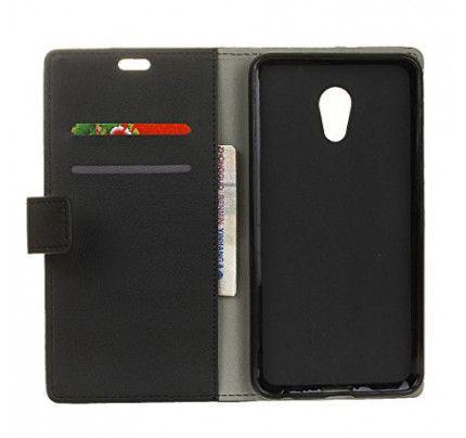 Θήκη OEM Wallet για Meizu MX6 ( stand ,θήκες για κάρτες,χρήματα) μαύρου χρώματος
