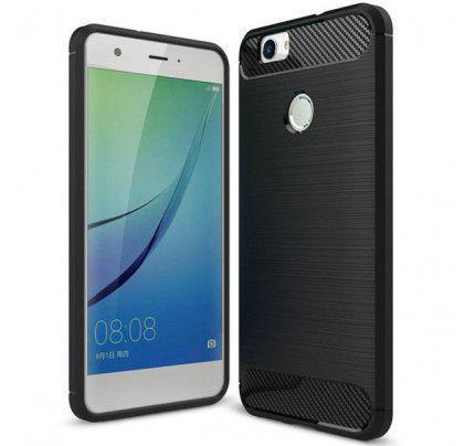 Θήκη OEM Brushed Carbon Flexible TPU για Huawei P8 Lite 2017 / P9 Lite 2017 μαύρου χρώματος