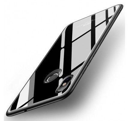 Θήκη MSVII Tempered Glass Case Durable Cover with Tempered Glass Back για Xiaomi Mi8 black